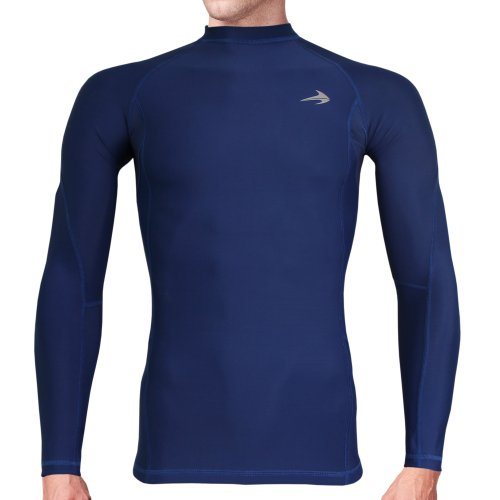Compression Shirt Long Sleeve (Navy - M) Men's Cold Top, Best for Gym Running, Basketball