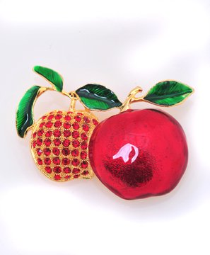 Gold and Rhinestone Apple Pin Brooch