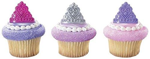 Princess Crown Tiara Royal Birthday Party Cupcake Rings - 24 ct