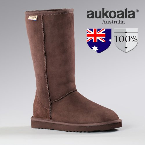 Aukoala Australia Sheepskin Warm Classic Tall Boots For Womens_Chocolate
