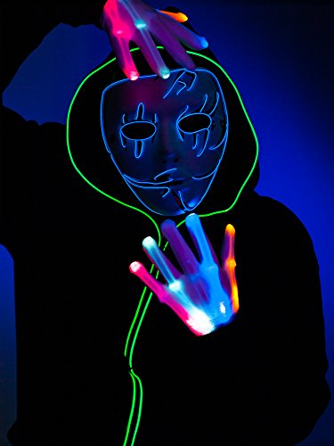 Blue Raven LED Mask, El Wire Rave Mask, Glow Light up Halloween Party Mask – Turnneon