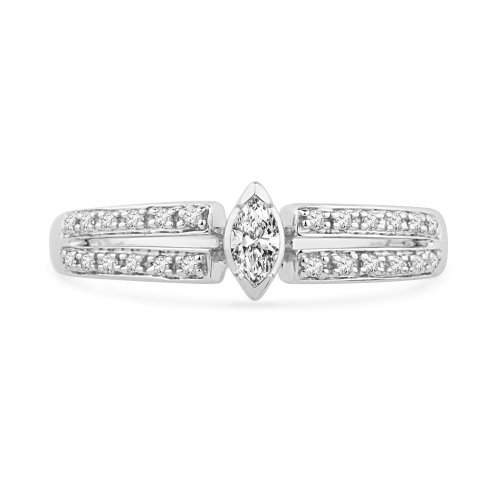 Platinum Plated Sterling Silver Round Diamond Promise Ring (1/4 CTTW)