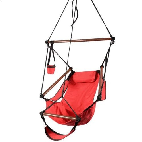 Outdoor Indoor Hammock Hanging Chair Air Deluxe Sky Swing Chair Solid Wood Red 250 Lb front-495826