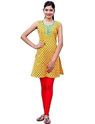 Charu Boutique Pure Cotton Printed Yellow Kurti