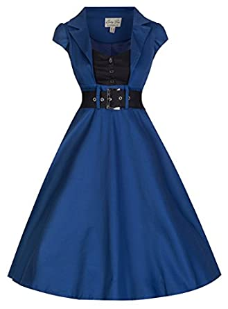 Lindy Bop Women's 'Geneva' 1950's Vintage Inspired Swing Party Dress (XS, Midnight Blue)