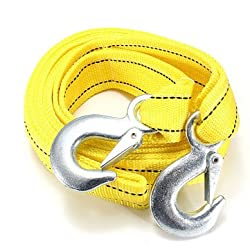 5T 3.64M Tow Towing Pull Rope 2 Heavy Duty Forged Steel Hooks -