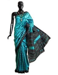 Small Paisley Woven Self Design On Cyan South Art Silk Saree With Black Temple Border And Pallu - Art Silk