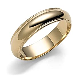 14k Yellow Gold 5mm Milgrain Half Round Band