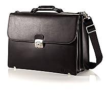 Hartmann Heritage Flap Leather Briefcase in Black
