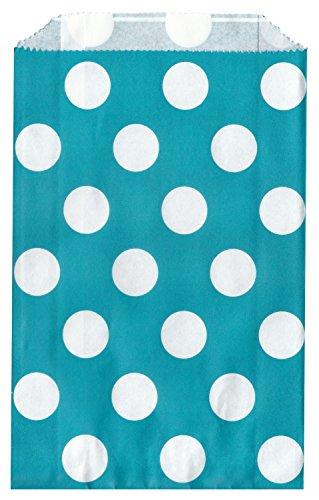 Polka Dot Dark Aqua Food Treat & Favor Paper Bags 24Pk 5X7 - Twilight Parties