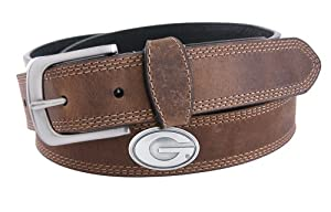 NCAA Georgia Bulldogs Light Crazy Horse Leather Concho Belt by ZEP-PRO