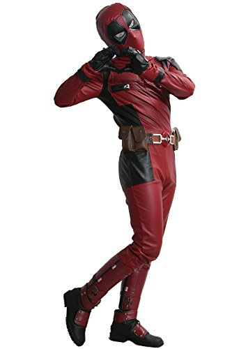 Dead Cosplay Pool Wade Costume Jumpsuit PU Outfit with Belt