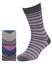 4 Pairs of Autograph Marl Striped Socks with Modal