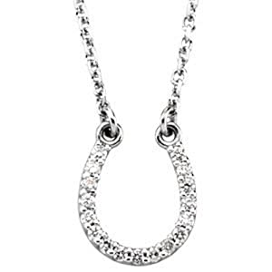 IceCarats Designer Jewelry 14K White Gold 14K White .08 Ctw Diamond Horseshoe 16 Necklace 16.00 Inch