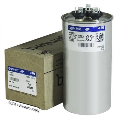 GE - 55 + 7.5 uF MFD x 440 VAC Genteq Replacement Dual Capacitor Round # C45575R / 97F9874