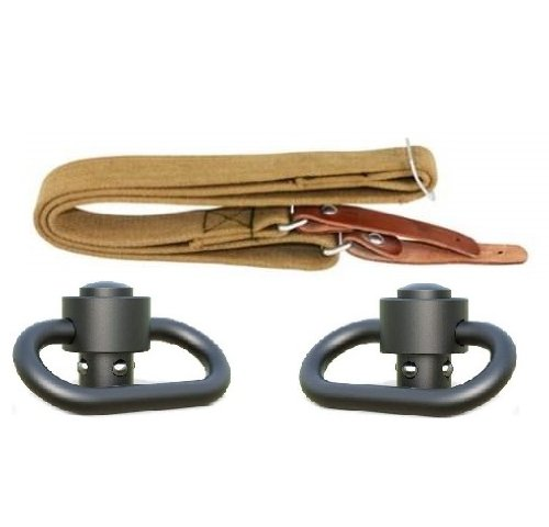 "Ultimate Arms Gear Heavy Duty Set Of Two Black Steel 1.50"" (1-1/2-Inch) Qd Quick Detachable Release Slot Loop Rotating Push Button Swivels Locks To Any Mount Attachment Rifle Or Shotgun To Allow Attachment Of Sling + Desert Tan Military Weatherproof Canva"