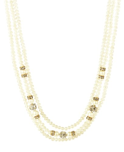 3 Row Nested White Potato Freshwater Pearl, Fireball and Rhinestone Rondelle with Gold Plated Sterling Silver Clasp Necklace, 16-18