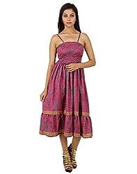 Gorgeous Polyester Leaves Dress Pink Printed Medium For Ladies By Rajrang