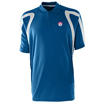 MLB Mens Texas Rangers Point Desert Dry Polo (Dark Royal White, Small) by Antigua