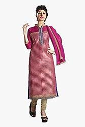 Ishin Chanderi Cotton Pink&Golden Dress Material