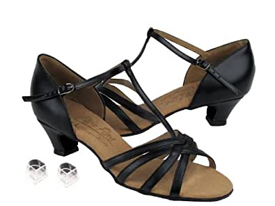 "Ladies Women Ballroom Dance Shoes Very Fine EKS9235 Signature 1.2"" Cuban Heel with Heel Protectors (4.5, Black Leather)"