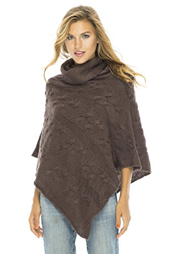Cable Poncho Turtle Neck Brown (Knit Cowl Poncho compare prices)