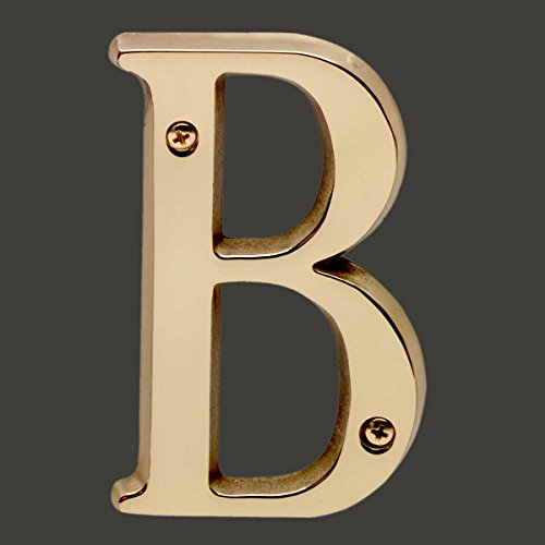 House Numbers Bright Solid Brass 4″ House Letter B