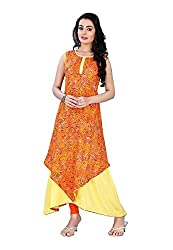 The Empire Casual Wear Yellow Coloured Rayon Stitched Kurti-L