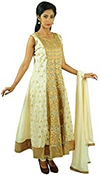 Aarshi Women's Chanderi Cotton Stitched Salwar Suit (KMD/DS/001/1011_M, Off-White & Beige, M)