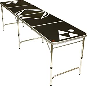 Beer pong table black 8 feet portable pong games sports outdoors - Professional beer pong table ...