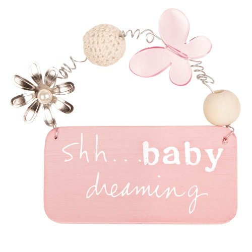 C.R. Gibson Baby Dreaming Treasured Collection Small Nursery Plaque, Girl