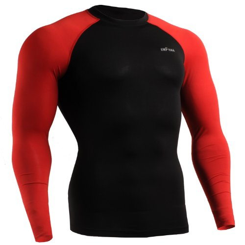 emFraa Men Women Skin Tight Baselayer T Shirt Running Top Black-Red Long sleeve S ~ 2XL