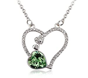 Austrian Crystal Heart Pendant Necklace, 18 Inches (Erinite Green)