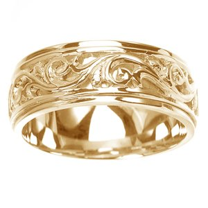 Women's 14k Yellow Gold Ornately Carved Wedding