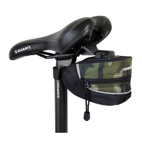 Camo quick release reflective trim seat / saddle bag for cycling (bike / bicycle) plus KLOUD cleaning cloth