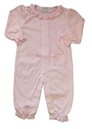 Kissy Kissy Baby Girls Stripes Pink Striped Footie With Gathered Collar- 0-3 Months