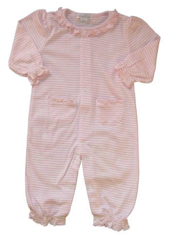 Kissy Kissy Baby Girls Stripes Pink Striped Footie With Gathered Collar- 12-18 Months