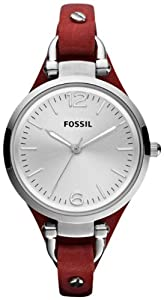 Fossil Georgia Three Hand Leather Watch - Red Es3147