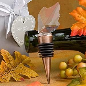 Fall Wine Wedding Favors: Choice Crystal Leaf Wine Bottle Stoppers, 48
