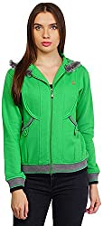 PRIKNIT Women's Hooded Jacket (Green, X-Large)