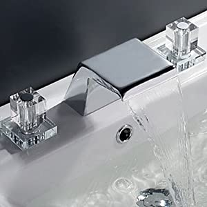 Widespread Waterfall Faucet : ... .com - Contemporary Waterfall Bathroom Sink Faucet (Widespread