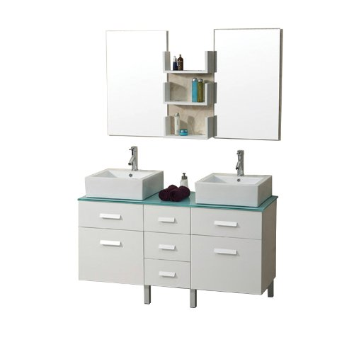 Virtu USA UM-3063W Maybell 57-Inch Double Sink Bathroom Vanity with Tempered Glass Countertop, Mirrors and Wall-Mount Shelves, White Finish