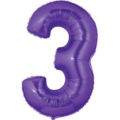 "Purple #3 Balloon 40"" High Large Balloon Number Shaped Birthday Party"