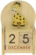 Jirafa: Hechos a mano calendario perpetuo de madera. Diversión peculiar de Navidad o idea del regalo de cumpleaños. Presente Comercio Justo (tamaño 10,5 x 7 x 3,5 cm)