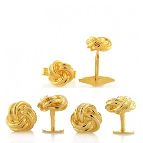 Bling Classic Gold Vermeil Single Woven Love Knot Cufflinks and Studs Set