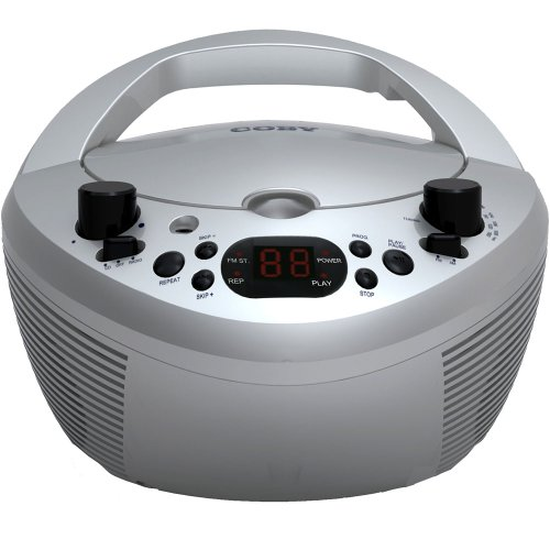 Coby CXCD251SVR Portable CD Player with AM/FM Radio, Silver