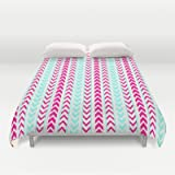 Society6 - Modern Neon Pink Arrows Teal Hip Geometric Pattern Duvet Cover by Girly Road