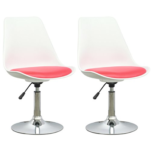 CorLiving DAB-250-C Adjustable Chair in White with Red Leatherette Seat, Set of 2