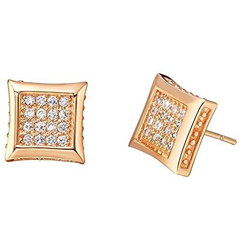 Moon Moon 18k Rose Gold Plating Women Stud Earrings Square Environmental Ear Nail Austria Crystal (Guys Dance Costumes)