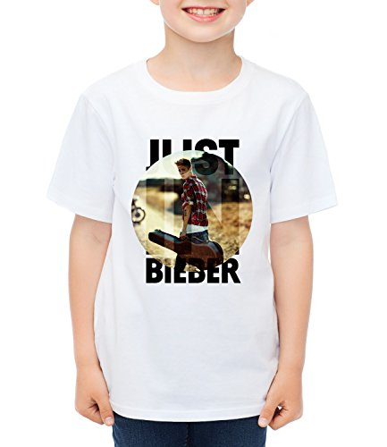 JUSTIN BIEBER CIRCLE Kids Boys CLASSIC-T Crew neck T-Shirt Bianco Medium